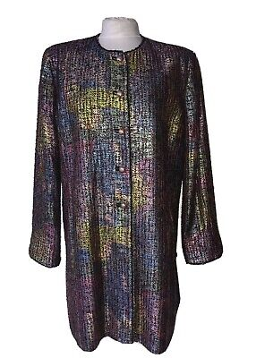 Caroline Charles Sz 16 Nwot Green Purple Blue Black Sheen Collarless Jacket  • 125£