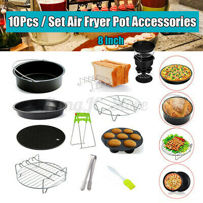 AU22.65 • Buy 8'' Air Fryer Frying Baking Pan Pizza Tray Pot Cage Dish Rack Accessories BBQ