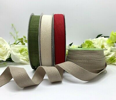 3/4  100% Cotton Herringbone Twill Tape Red Green Taupe Natural Flat Strap Eco • 4.95£