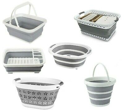 £8.99 • Buy Collapsible Silicone Folding Bucket Basket Dish Drainer Rack Plastic Storage NEW