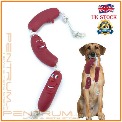 3 Sausage Rope Dogs Puppy Toy 35 Cm Pets Fetch Teething Silicone Fun Playtime  • 2.99£