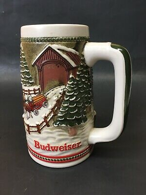 $ CDN23.56 • Buy 1984 Budweiser Holiday Christmas Beer Stein Clydesdale Covered Bridge Tankard