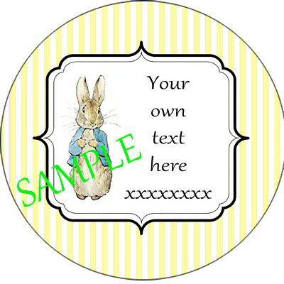 Personalised Peter Rabbit Stickers Baby Shower Birthday Christening Favours Y • 1.28£