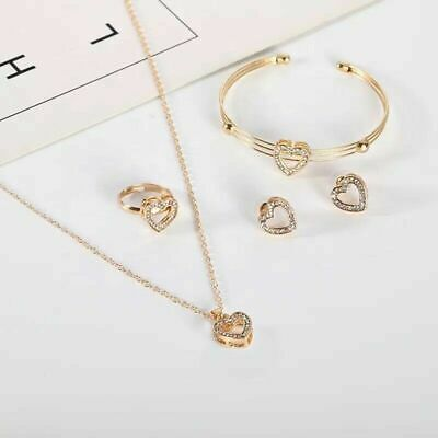 Women's Jewellery Set Made With Swarovski Elements Crystals Gold Plated Shine • 6.99£