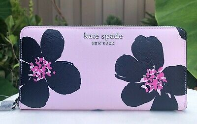$ CDN115.20 • Buy Kate Spade Cameron Grand Flora Large Zip Continental Wallet Serendipity Pink New
