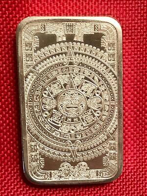 $ CDN254 • Buy 5 Oz Aztec Solar Calendar 999 Fine Silver Art Bar ~ Sun Stone Of Mexica