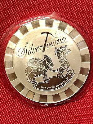 $ CDN254 • Buy 5 Oz SilverTowne 999 Fine Silver Chip Stacker Art Round In Mint Seal