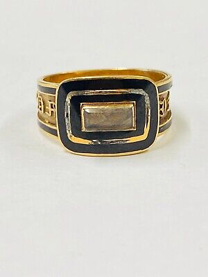 £715.50 • Buy ANTIQUE 18ct Yellow Gold 1822 MOURNING RING WITH HAIR UNDER ORIGINAL GLASS