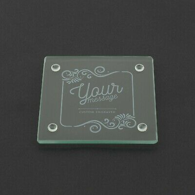 Personalised Glass Coaster Your Text Here Custom Laser Engraved Coffee Gift  • 3.99£