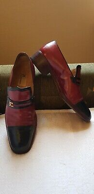 MORESCHI Made In Italy Black/Burgundy Men's Leather Shoes -size UK 7.5/ EU 41.5- • 39£