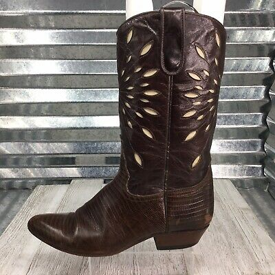 Sancho Women's Cowboy Boots Brown Leather Cut Out Ivory Geometric Size 8.5 • 35.84£