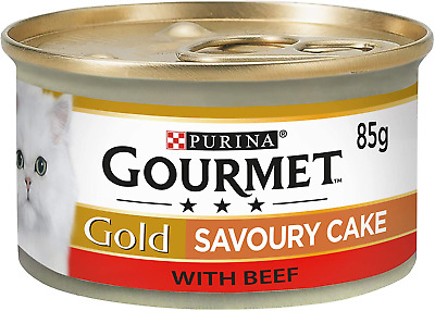 Gourmet Gold Wet Cat Food Savoury Cake Beef Can Adult, 85 G - Pack Of 12 Cooked • 7.21£