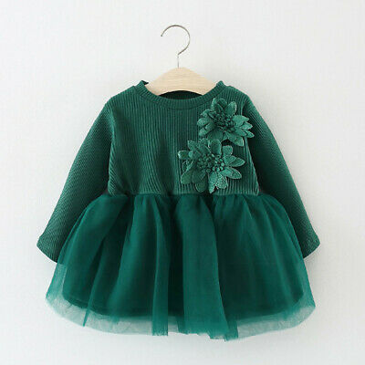 Toddler Kids Infant Baby Girls Casual Tulle Princess Floral Dress Skirt Clothes • 8.99£