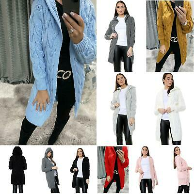Ladies Chunky Cable Knitted Oversized Women Longline Hooded Cape Long Cardigan • 19.99£