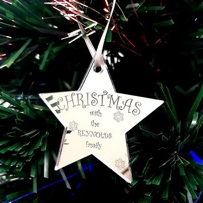 Star Personalised  Christmas With The Family  Engraved Christmas Tree Decoration • 7.99£
