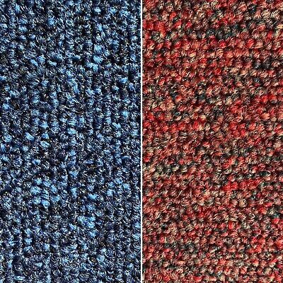 Coral Red Crete Blue Contract Heavy Duty Carpet Tiles School Commercial Office  • 8£