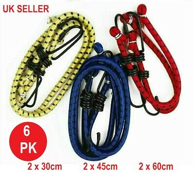 £2.85 • Buy 6 Bungee Straps Cords Set With Hooks Elasticated Rope Cord Tie Car Bike Luggage
