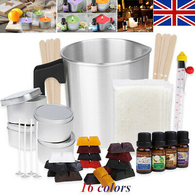 DIY Candle Making Kit,Soy Wax Flakes,Wicks,Pitcher,Fragrance Oil,16 Color Dyes • 36.99£
