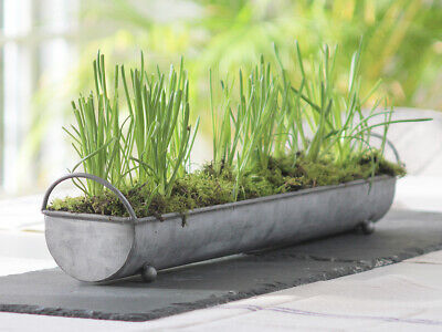 Vintage Chic 100% Zinc Galvanised Metal Planter Window Sill Box Seeds Herb Pot • 29.95£