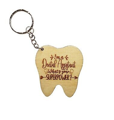 Dental Assistant Wooden Engraved Keyring  - Dental Nurse Birthday Christmas Gift • 4.99£