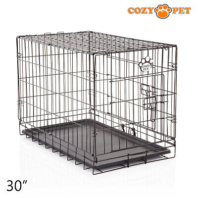 £36.99 • Buy Dog Cage 30 Inch Puppy Crate M Cozy Pet Black Dog Crates Folding Metal Cages