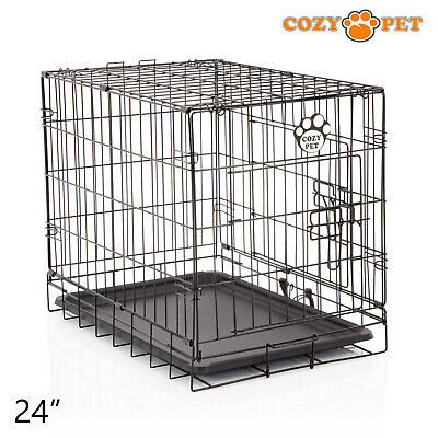 £30.99 • Buy Dog Cage 24 Inch Puppy Crate S Cozy Pet Black Dog Crates Folding Metal Cages