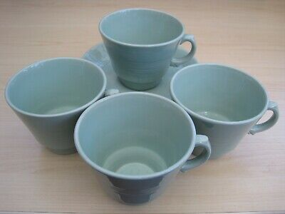 4 X Vintage Retro Wood's Woods Ware Beryl Green Cups And Saucers (A) • 16£