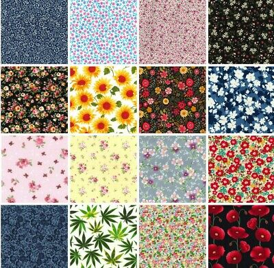 £6.95 • Buy 100% Cotton Poplin Fabric Rose & Hubble Flowers Floral Sewing Craft