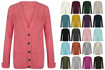 Women Ladies Chunky Aran Cable Knitted Long Sleeve Button Top Grandad Cardigan • 10.99£