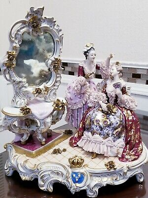 $ CDN1704.16 • Buy ANTIQUE LARGE DRESDEN VOLKSTEDT FIGURINE  TWO LADIES WITH MIRROR   15 1/2  Heigh