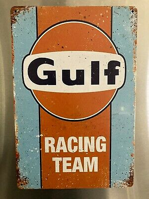 Retro Sign Motor Spirits Beers Garage Cave Bar Cafe. 30cm X 20cm GULF RACING • 5£
