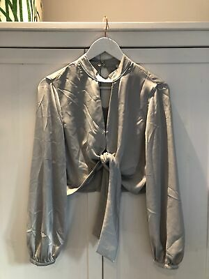 NEW RIVER ISLAND Women's Size UK 10 12 Light Grey Tie Front Blouse Top • 11.99£