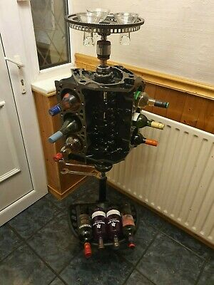 V6 Chevy Engine Rotating Wine Rack Engine Coffee Table Barbers Reception Home • 395£