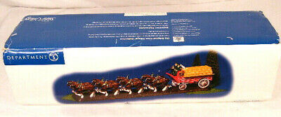 $ CDN124.88 • Buy Department 56 Budweiser Clydesdale Snow Village Horses Wagon Drivers Dog 2004