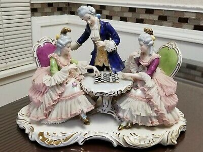 $ CDN300.73 • Buy Dresden Lace Porcelain Group Of Man & Two Ladies Playing Chess.