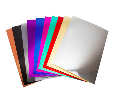 A4 Metallic Mirror Card Sheets 10 Pack Assorted Colours Crafts DIY Scrapbooking • 3.39£