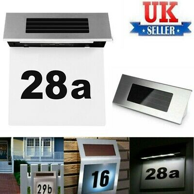Solar Powered 4 LED Illuminated House DIY Door Number Decor Wall Light Up Plaque • 5.99£
