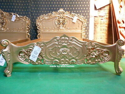 UK STOCK ~ 5' King Size Mahogany French Style Furniture Baroque Gold Rococo Bed • 899£