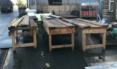£295 • Buy Reclaimed Wooden Workshop Woodworking Bench With Vice DIY