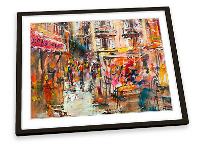 £15.99 • Buy Abstract Street Café Shops FRAMED ART PRINT Picture Poster Artwork