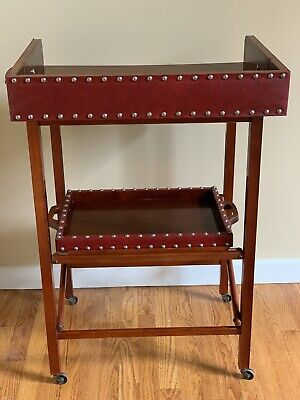 $975 • Buy Scheibe Vintage Art Deco Leather Mahogany Rolling Bar Cart Serving Tray Colla