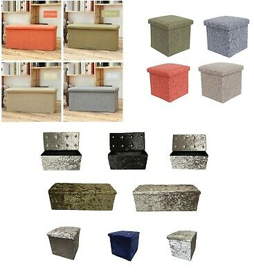 Folding Ottoman Storage Box Pouffe Seat Stool Home Chair Footstool Storage Bench • 19.99£