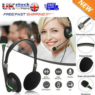 USB Headphones With Microphone Noise Cancelling Headset For Skype Laptop NEW • 6.59£