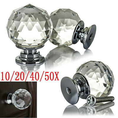 Clear Crystal Diamond Glass Door Knobs Cupboard Drawer Furniture Handle Cabinet • 19.98£