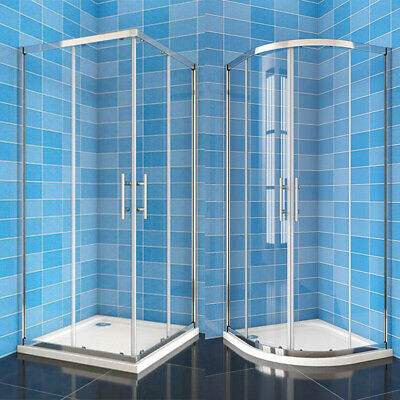 Quadrant Shower Door/Corner Entry Shower Enclosure Slide Glass Cubicl StoneTray • 159.99£