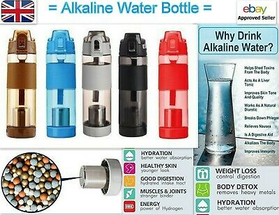 Water Bottle Alkaline Filter Rich Healthy Minerals Water Plastic Bottle 650ml A • 12.99£