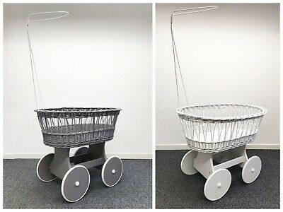 £79.99 • Buy Grey/white Wicker Wheels Crib Baby Moses Basket With Canopy Holder