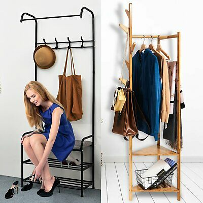 Hat And Coat Stand Hall Tree Hallway Shoe Storage Rack Bench With Shelves Hooks • 24.98£