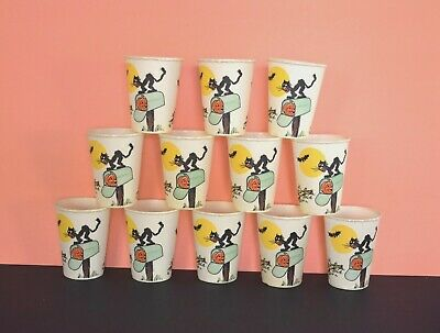 $ CDN26.43 • Buy Set Of 12 Vintage HALLOWEEN PUNCH CUPS Waxed Party Drinking 1960s BEACH CO. Lot