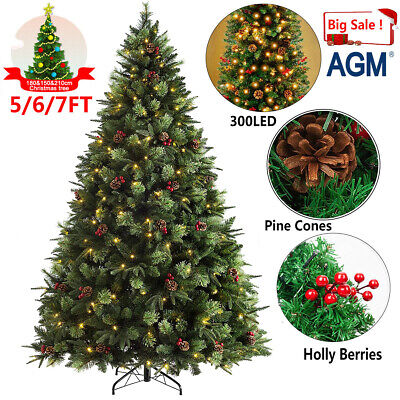 5/6/7FT Decorated Christmas Tree Cones Berries 300LED Artificial Colorado Spruce • 38.59£